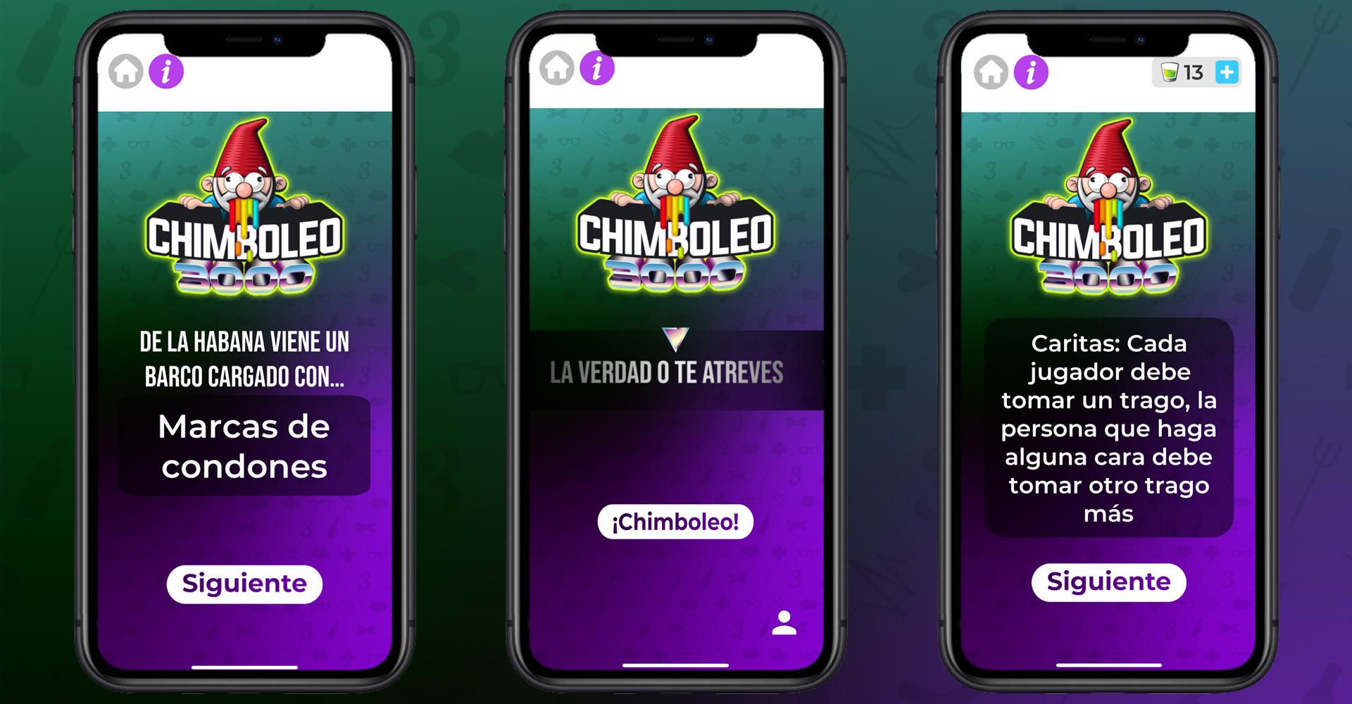 Pantallazos del juego Chimboleo de A beber app